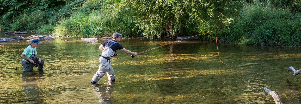 Students fly fishing
