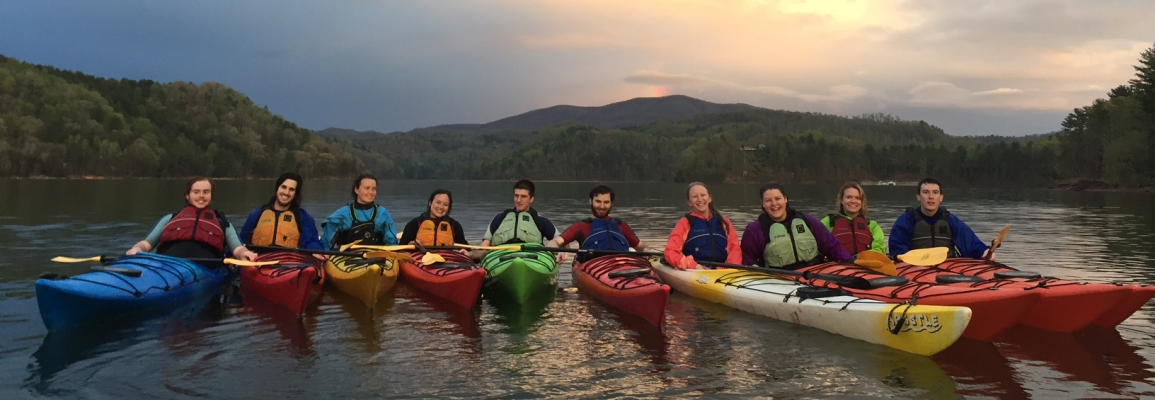 Students kayaking at Watauga Lake